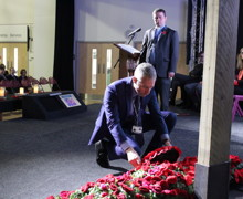 Dr Pawson laying wreath