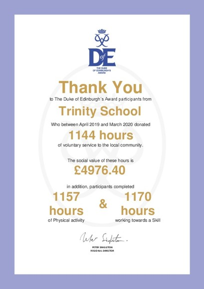 Trinity School   Sevenoaks DofE
